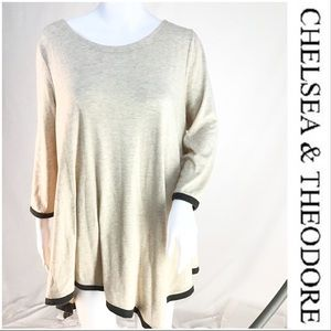 Chelsea & Theodore Tan with Brown Trim Asym Tunic